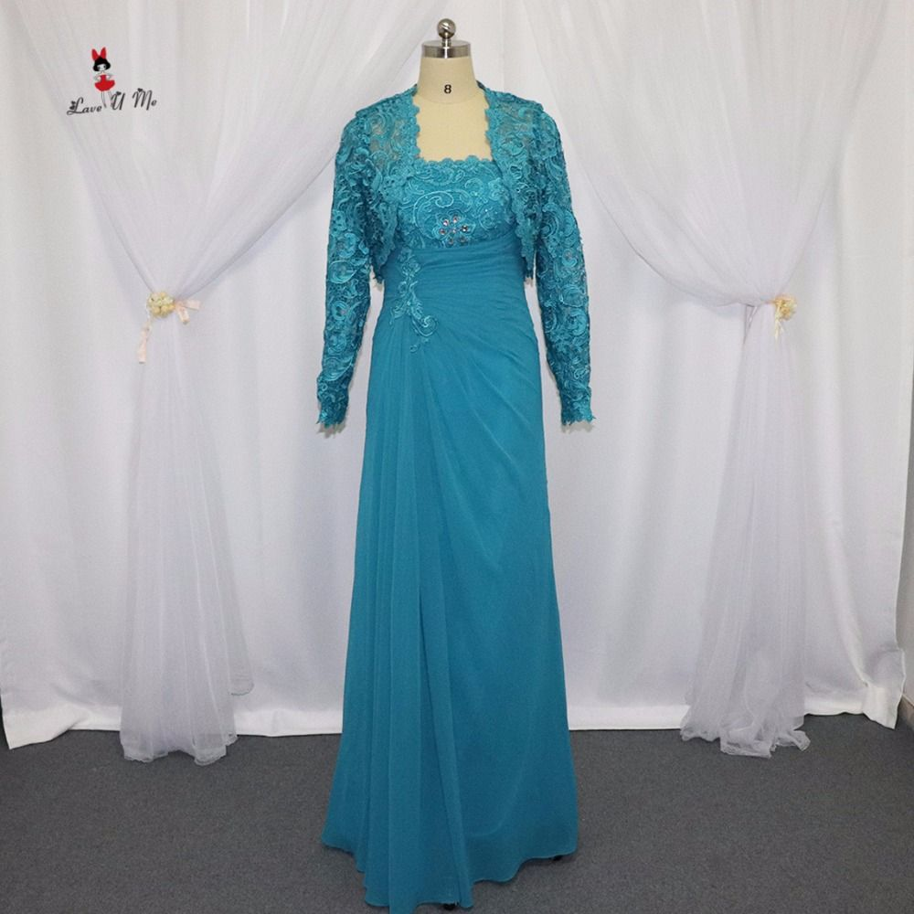 Mother of the Bride Dresses with Jacket Turquoise Lace Long Evening Party Dress Beaded 2017 Chiffon Pants Suit Wedding Madrinha