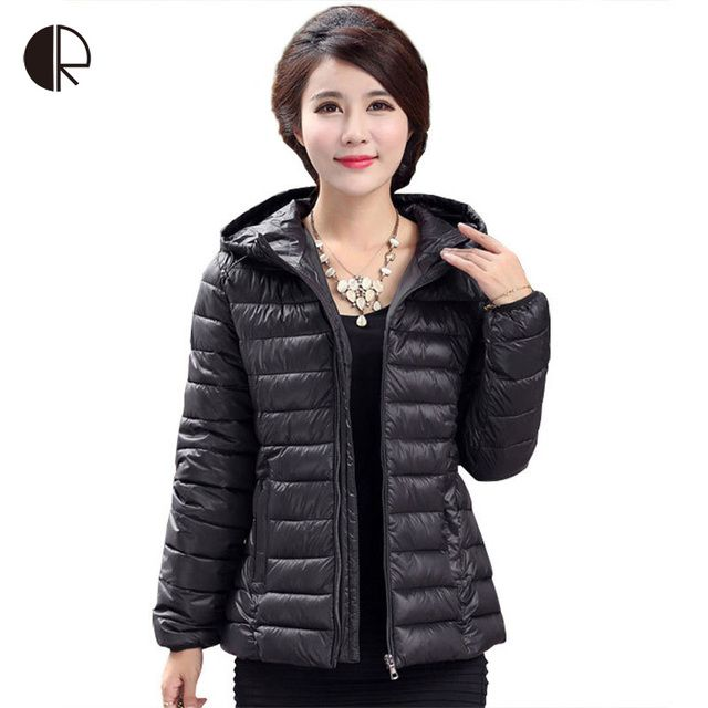 2016 Winter Parkas Ultra Light Down Jacket Women Hooded Coat Plus Size 5XL Solid Color Thin Duck Down Jackets And Coats WC1027