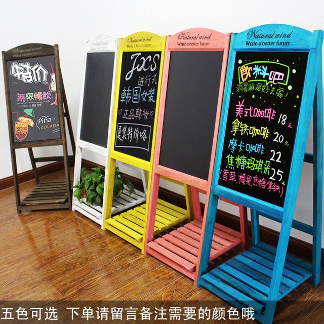 Vintage wood scaffolding Coffee Shop Restaurant blackboard small flower billboards to promote its board