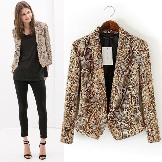 autumn snakeskin lady three quarter sleeve women office short sexy blazer womens jackets and coats 2015 new design free shipping