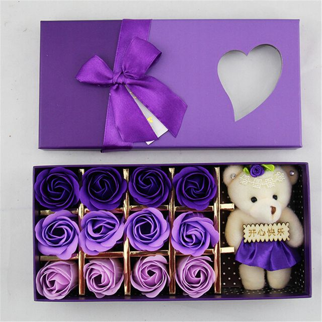 Romantic Valentine's Day Colorful Rose Soap Flower with Bears Gift Box Birthday Gift Christmas Surprise Wedding Supplies
