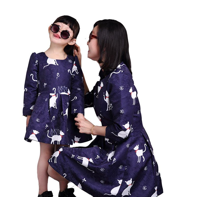 Mother and Daughter Clothes Dresses Party Mae E Filha Mommy and Me Clothes 2016 Style Mother Daughter Dresses Matching Outfit