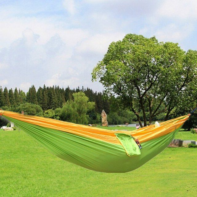 2016 Hot Selling High Quality One Person Assorted Color Parachute Nylon Fabric Hammock with Strong Rope Outdoor Seating Hammock
