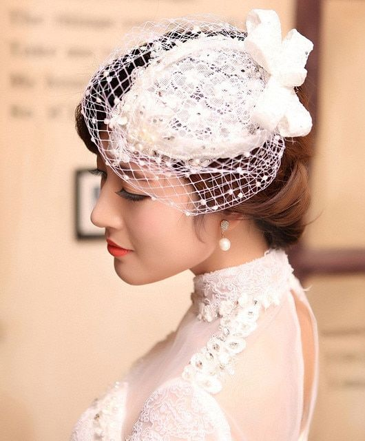 Mini Hat White Lace Fascinator Flower Hair Clip Wedding Hats And Fascinators Bridal Hair Acessories Chapeu Casamento WIGO0536
