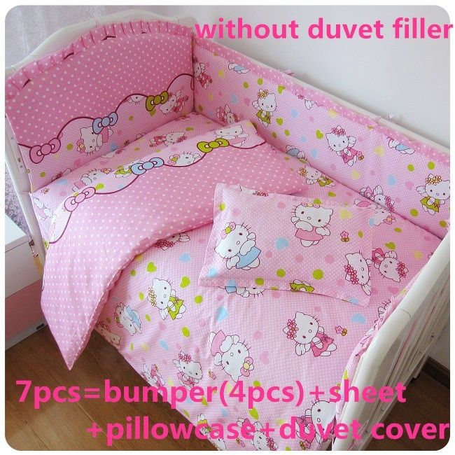 Discount! 6/7pcs Hello Kitty Baby Bedding Set Cot Crib Bedding Set for girls boys Quilt Cover baby bed bumper,120*60/120*70cm