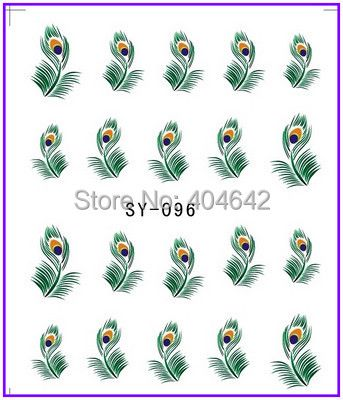 1X  Nail Sticker Plume Feather Pinna Water Transfers Stickers Nail Decals Stickers Water Decal SY096