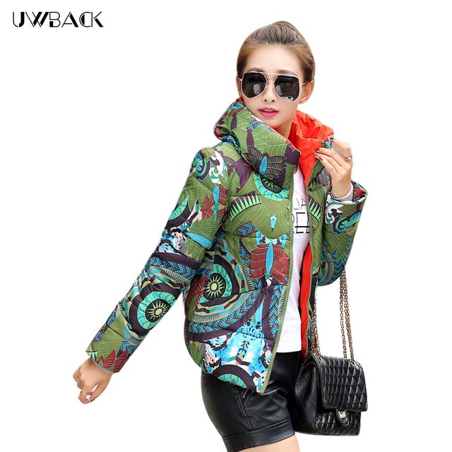 Uwback 2017 New Winter Coat Woman Print Floral Plus Size Slim Jackets Women Outwear Short Wadded Parka Mujer TB1083