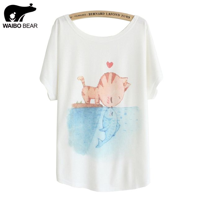 [Magic] New 2016 summer T shirt women style thin plus size loose batwing sleeve women's T-shirt  cat kiss Fish print Top Tees