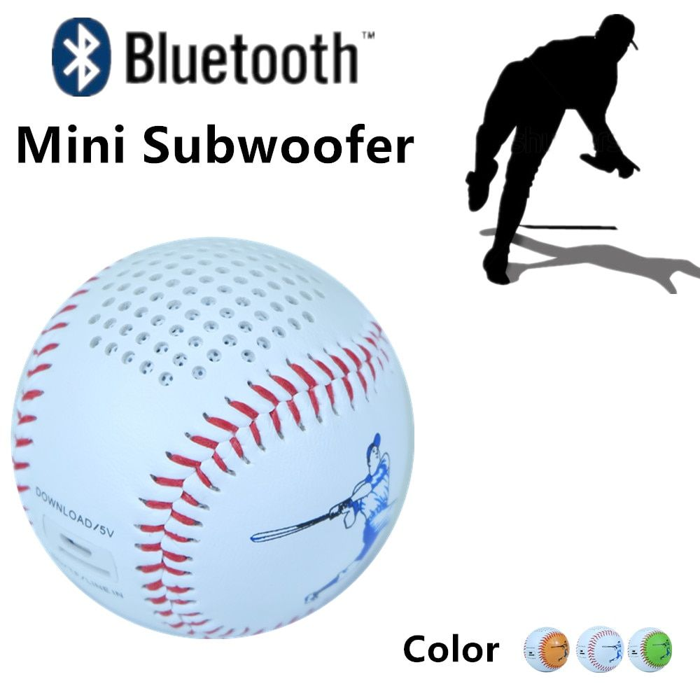 Colorful Baseball Bluetooth Speaker wireless or use Micro USB line in audio player Support TF card download and playing 600mAh