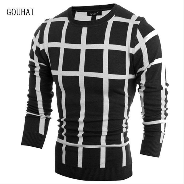 Sweater Mens Pullovers 2016 Christmas Sweater O-Neck Dress Autumn Winter Cashmere Knitted Sweater Men Plaid Pullover Pull Homme