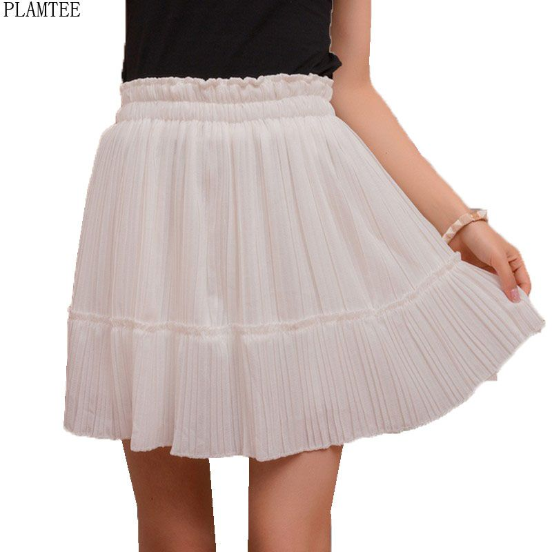 PLAMTEE 4 Colors Elegant Pleated Skirts Womens 2017 Summer Mini Jupe Sexy Hot Saias Mujer High Waisted Saia Kawaii Skirts Female