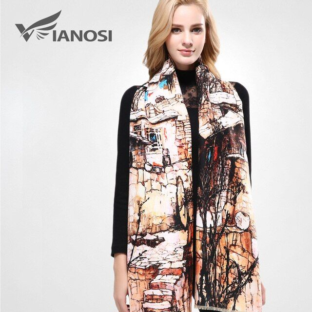 [VIANOSI] Brand Scarf Winter Women Scarf Female Wool Printing Shawl Best Quality Cashmere Studios Warm Woman Wraps VA063