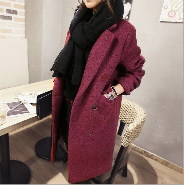 2016 Winter Fashion Women New Coat Long sleeve Medium Long High quality Wool Coat Loose Super Warm Woolen Coat Women