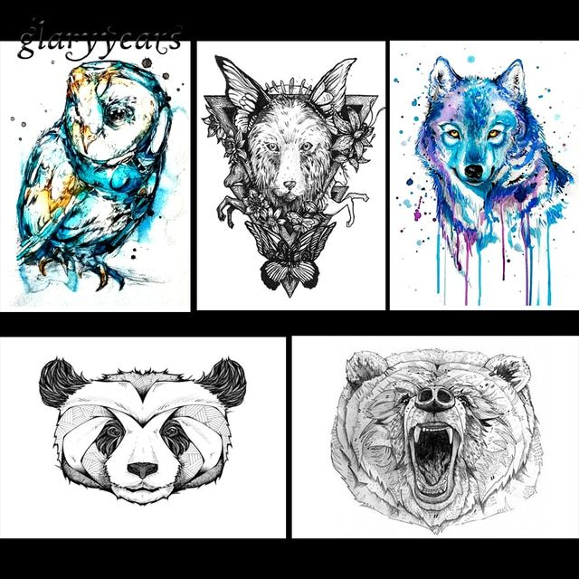 5 Pieces Wild Animal Pattern Design Temporary Tattoo Sticker Watercolor Raccoon Wolf Decal Waterproof Fake Tattoo Stickers KM#17