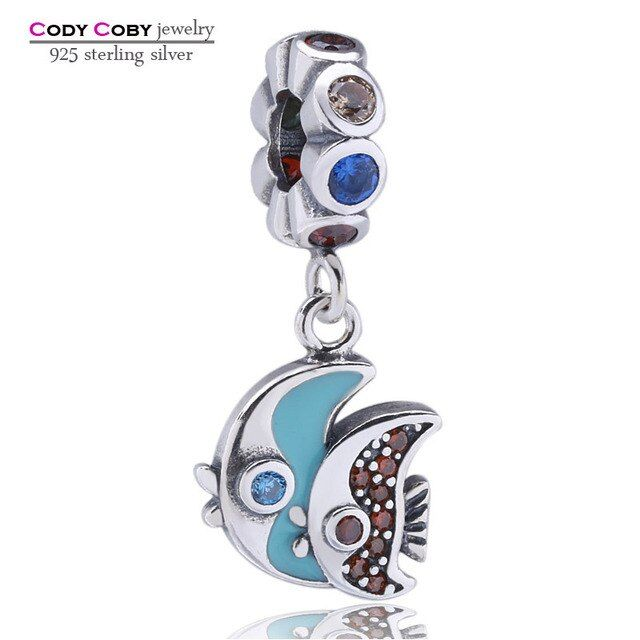 Authentic 925 Sterling Silver Angel Fish Charms With Colorful CZ Eye Beads Fit Original DIY Bracelets Vintage Animal Jewelry