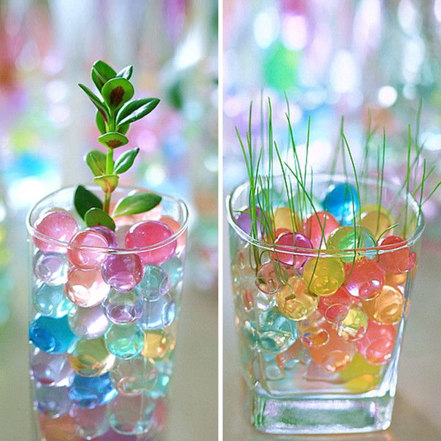 100pcs Crystal Soil Mud Grow Water Beads Hydrogel Magic Gel Jelly Balls Orbiz Sea Baby Growing in Water Vase Home Decor