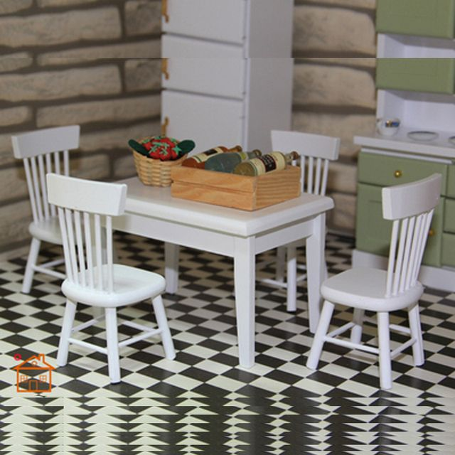 Dining Room Set-Wooden Chair Desk dollhouse furniture 1/12 scale 5pc/set #KT02
