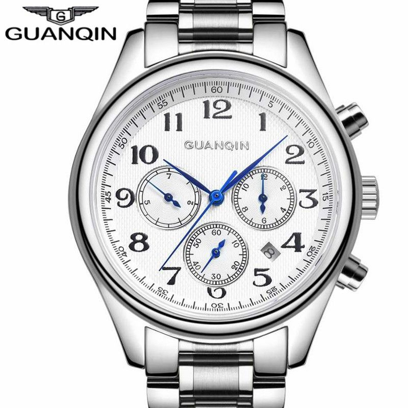 Relogio Masculino GUANQIN Watch Men Luxury Brand Automatic Mechanical Watches Men's Fashion Chronograph Silver Steel Wristwatch
