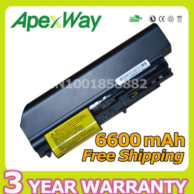 Apexway High quality 6600mAh 9 cell Laptop Battery For Lenovo T61 R61 for ThinkPad R400 7443 42T5264 42T5262  T400 2765