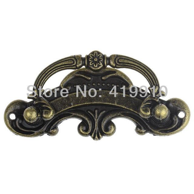 "3PCs Jewelry Cabinet Cupboard Box Handle Drawer Pull Antique Bronze Pattern Carved 9.4cm x 4.5cm(3 6/8"" x1 6/8""),J2688"