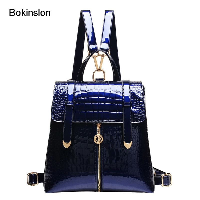 Bokinslon School Backpack Women Fashion  Alligator Grain Backpack Girl Casual Vintage Patent Leather  Women's Backpack Bag