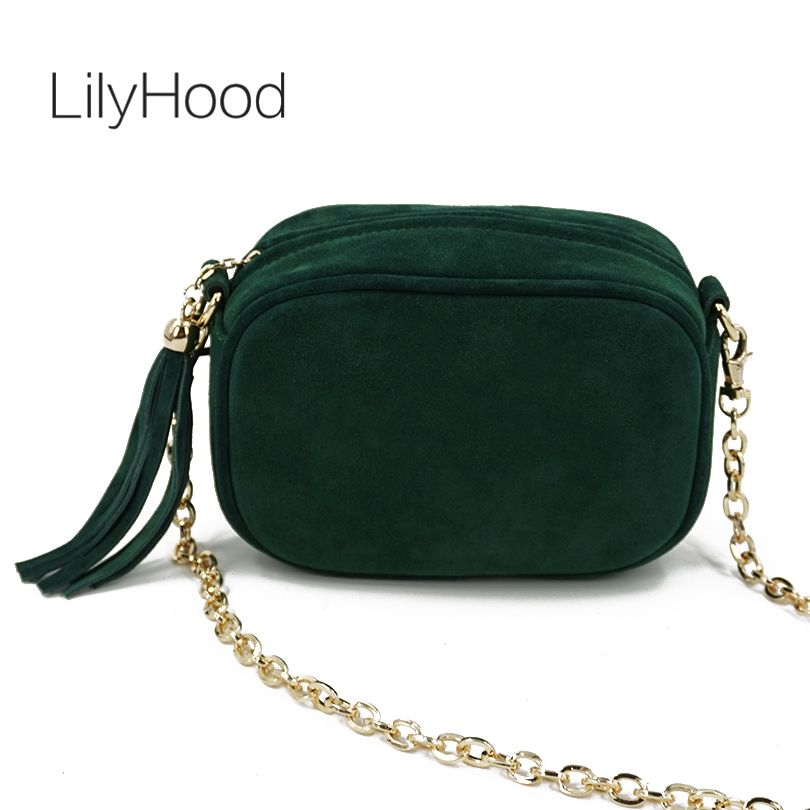 LilyHood Fashion Genuine Leather Shoulder Bag Summer Feminine Green Fringe Tassel Mini Peekaboo Crossbody Bag With Gold Chain