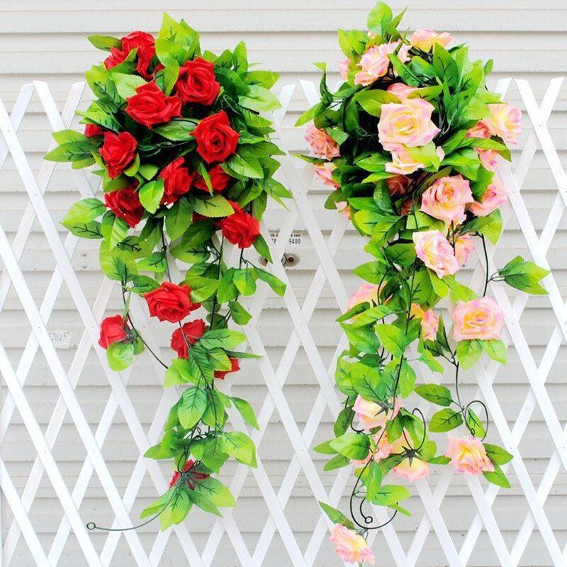245cm Artificial Rose Garland Silk Vine Flower With Green Leaves Plant Garlands Ivy Home Wedding Garden Hanging Floral  Decor