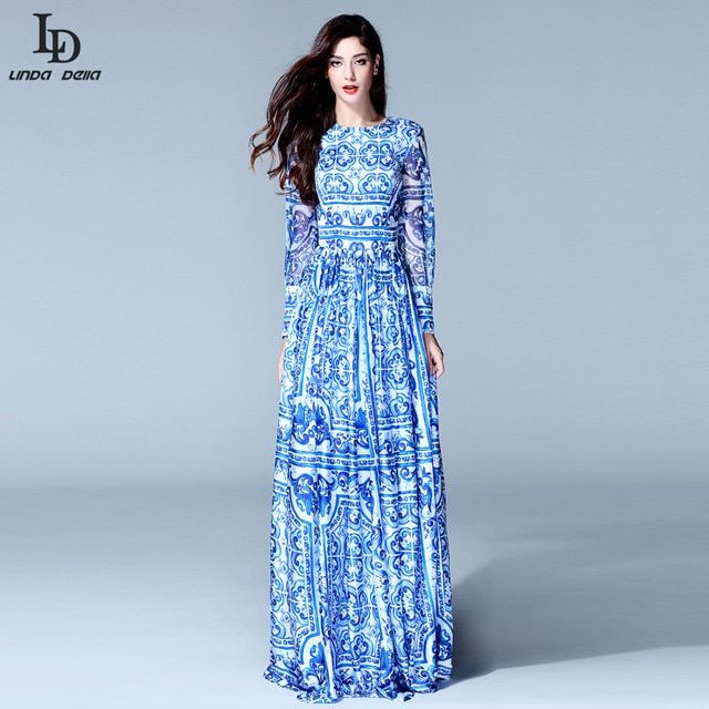 HIGH QUALITY New 2015 Fashion Women's Long Sleeve Vintage Blue And White Print Dress Brand Maxi Dress