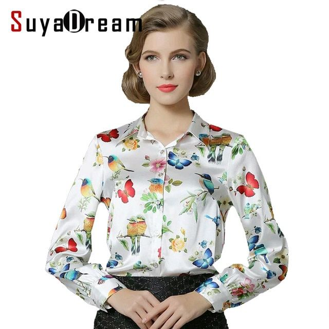Pure Mulberry SILK blouse Women long sleeve work Brand Print Satin Blusas femininas Office lady STRETCH Plus size 2017 NEW shirt