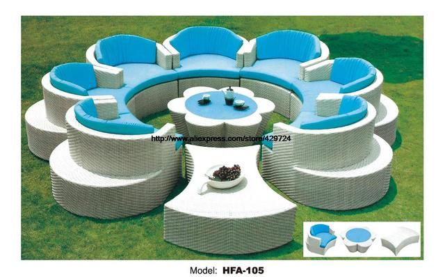 Flower Shaped Rattan Sofa Set Outdoor Wicker Sofa Furniture 7 Seat Garden Furniture with Table Ottoman Wicker Patio Furniture
