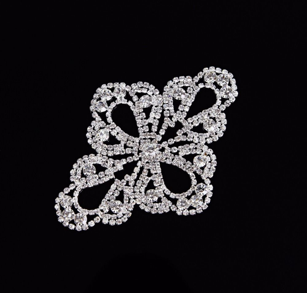 1Pc Clear Crystal Glass Rhinestone Silver Applique Lady Bridal Costume Dress Motif