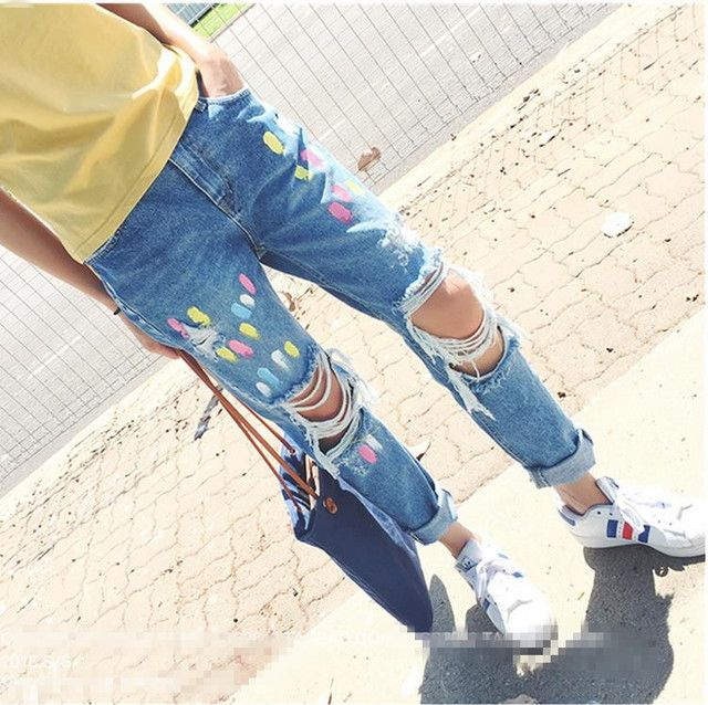 Fashion Boyfriends Jeans For Women New Casual Loose Ripped Knee Hole Jeans Woman Destroy Wash Denim Jeans Pants Loose trousers