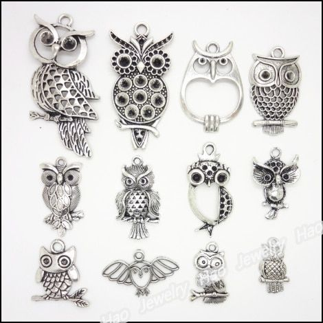 mixed 48 pcs Vintage Charms  Owl  Pendant Antique silver Fit Bracelets Necklace DIY Metal Jewelry Making
