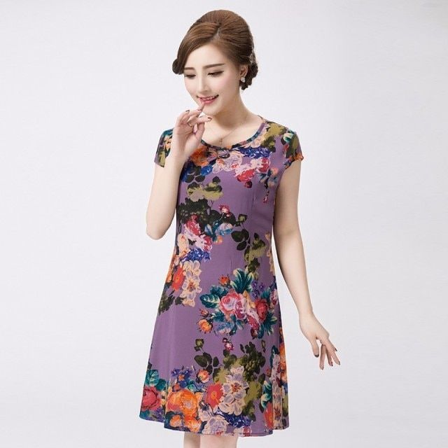 Xl-5xl 2019 Women Dress Style Plus Size Vintage Printed Flower Print Sundress Long Casual Beach Dresses Vestidos Clothes Mujer