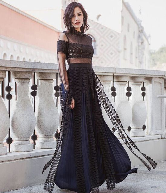 self portrait 2016 new arrive blue long dress women summer dress lace gauze