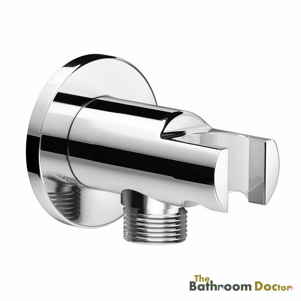 Round Chrome Bathroom Wall Connector Bracket Shower Wall Outlet for Hand Held Mixer Shower Head Hose 04-012