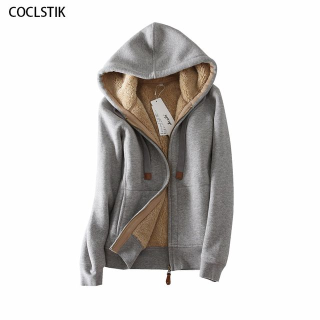 High Quality Winter Wool Women's Gray Hooded Jackets Women bts Hoodie Coat Thicken Warm Cotton Female Thermal Sweatshirt Jacket