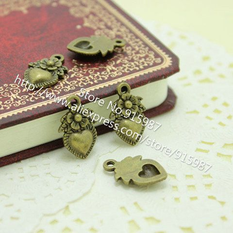 Sweet Bell 50pcs/lot 11*18mm Antique Bronze  Vintage Metal Alloy Hearts Made with Love flower Charm Jewelry Heart Charms D0267