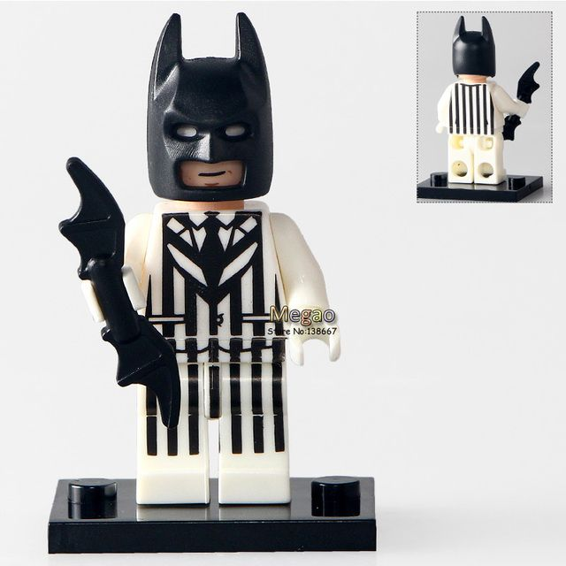 Building Bricks Single Sale PG184 Batman In Black White Suit DC Super Heroes Batman Blocks Movies Toys for Children PG8047