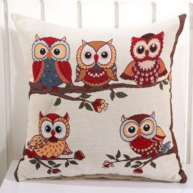 Lovely Linen Cotton Cartoon Night Owls decorative pillows Jacquard cushion cover Hot Sale Home Decor Sofa Car Seat Decorative