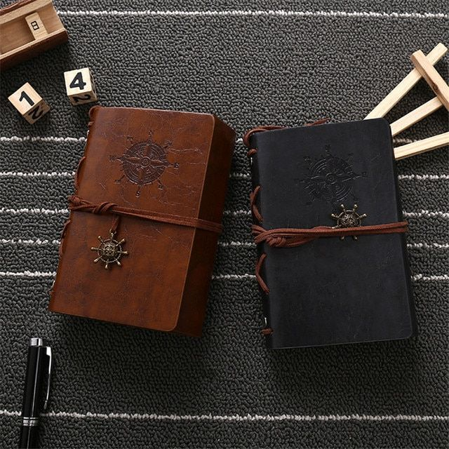 80Pages/Book Journal Notebook Pirate Diary Book 6 Colors Red/Brown/Grey/Blue School Supplies Leather Soft Copybook 14.5cm