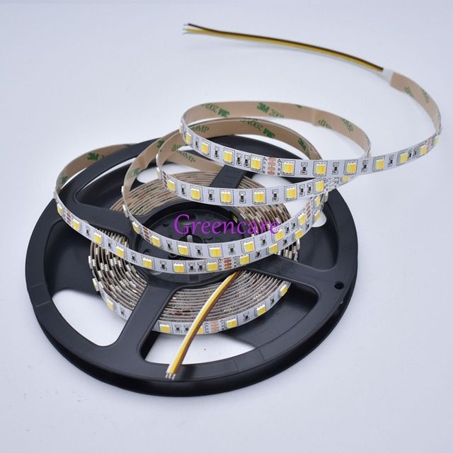 Bright 5m DC12/24V SMD 5050 2in1 LED CCT Color Temperature Adjustable & Dimmable LED Strip Light 14.4W/M Free Shipping