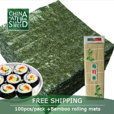 Free Shipping,wholesale high Quality Seaweed,nori for sushi Seaweed nori sushi ,100pcs +Bamboo rolling mats nori tools
