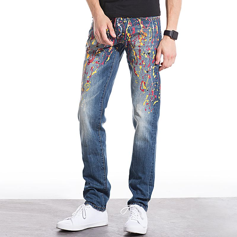 Super-Star Style Big Brand Printed Men Jeans Fashion Cotton Denim Jeans Men Slim Straight Washed Mens Jeans