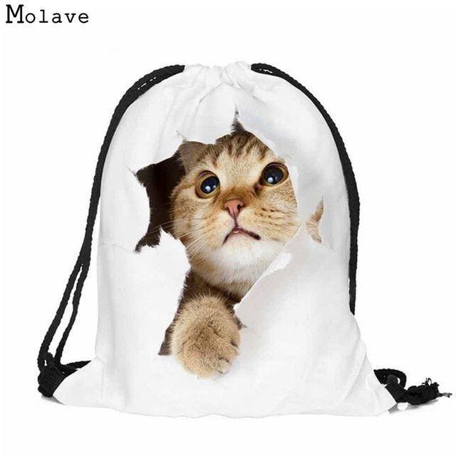 Naivety Fabric Backpack Animal Cat Patten Backpack 3D Printing Drawstring Bag Mochila New Fashion Bags S61222 drop shipping