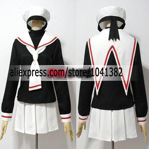 Full Set Cardcaptor Sakura Card Captor Sakura School Uniform Anime Cosplay Costume With Hat customized any size Free shipping