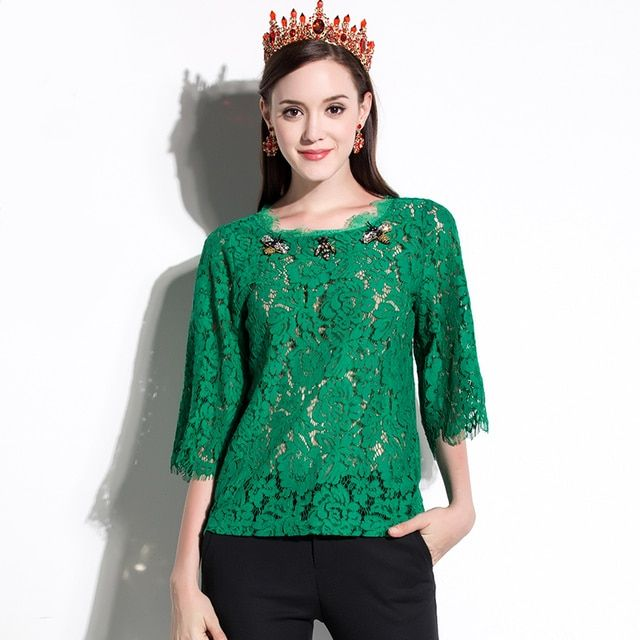Luxury Zoo Beading Blouses Oversize Summer Women 2017 Fashion New Half Flare Sleeve Hollow out Loose Shirts Green Lace Tops