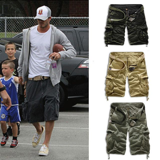 Summer Mens Baggy Camo Cargo Shorts Multipockets Baggy Loose Army Military Khaki Black Camouflage Short Pants For Men AY721