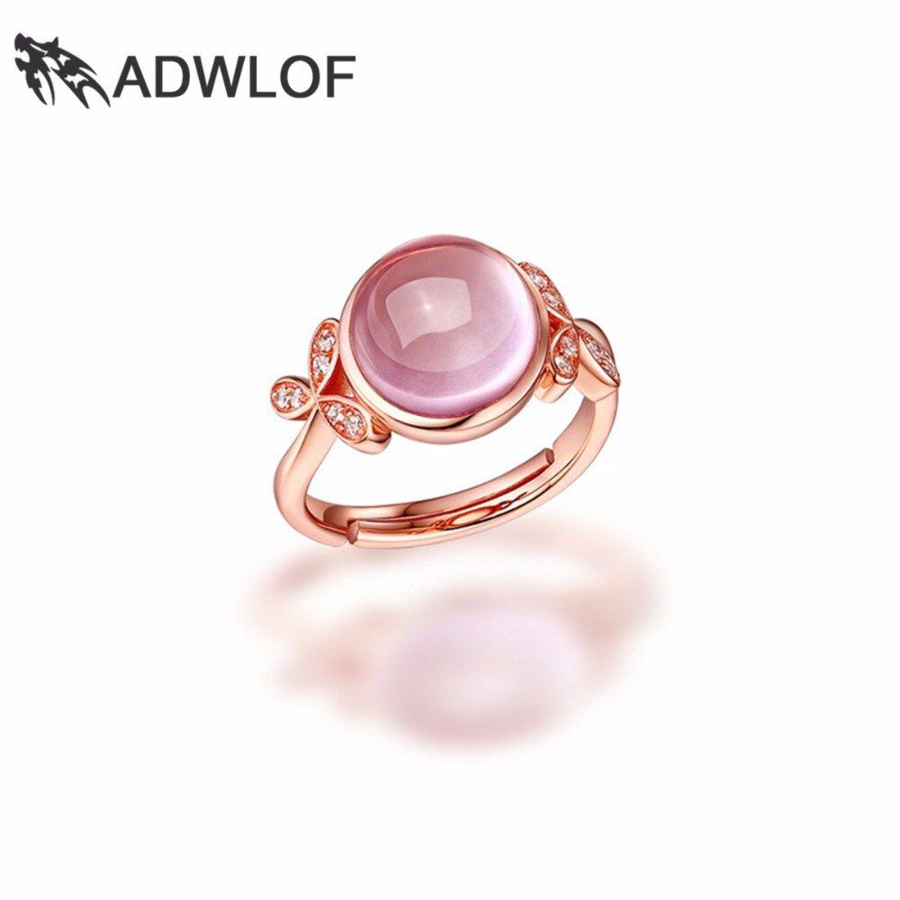 ADWLOF 3.20CT Round Cut Natural Rose Quartz Leaves Flowers Rings 925 Sterling Silver for Women Engagement Fine Jewelry