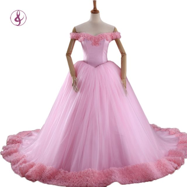RSM 66266 2016 Puffy Quinceanera Dresses Pink Princess Cinderella Formal Long Ball Gown Party Gowns 3D Flowers Real Photos